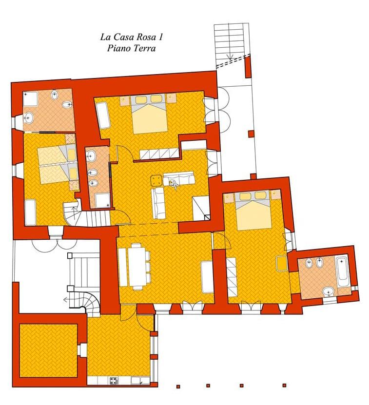 casa rosa 1 planimetria