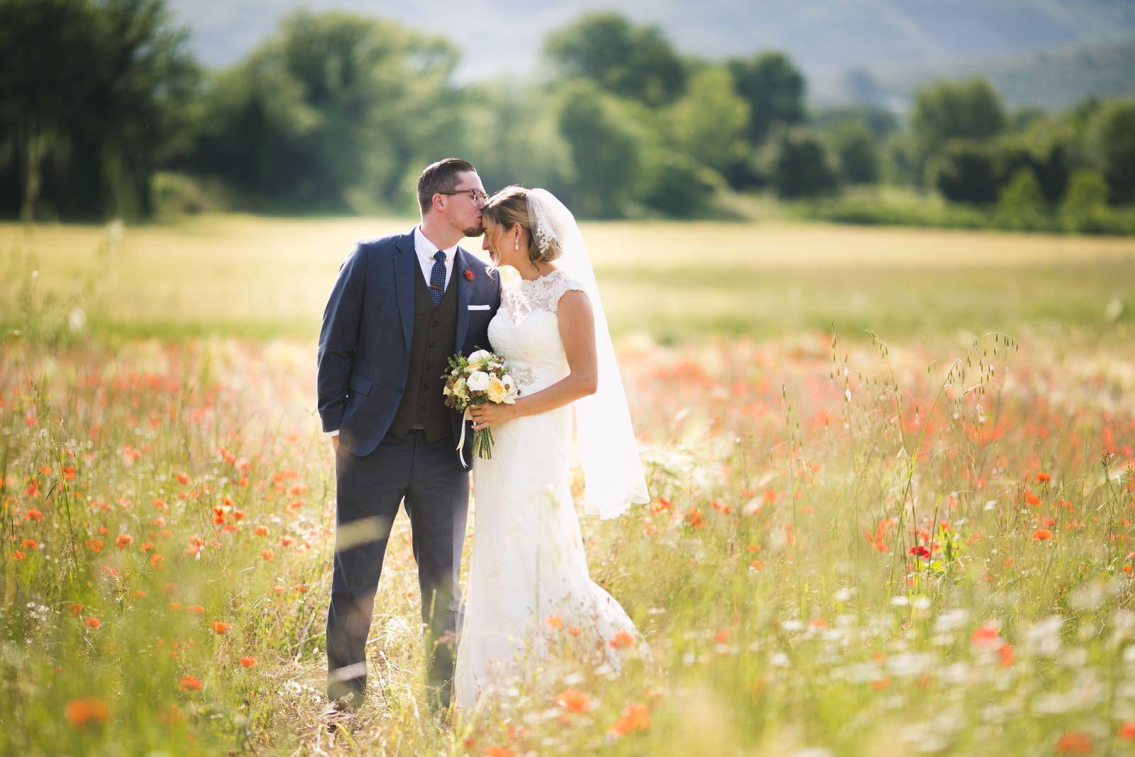 Wedding photo, wildflowers in Tuscany
